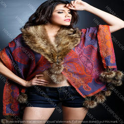 Wool Jamavar Fur Cape