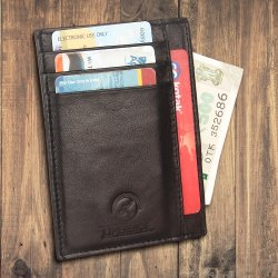 Leather Credit Card Case Napa Black