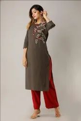 Hand Embroidered Work  Grey  Color Kurti With Palazzo Set