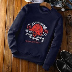 Cotton Black and Red Mens Party Wear Printed Pullover Sweatshirt, Size: S-XXL