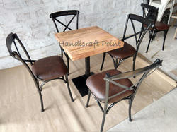 Handicraft Point Dining X Back Chair and Table Set for Restaurant