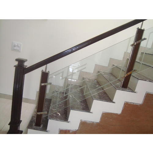 Wood And Gl Staircase Railing