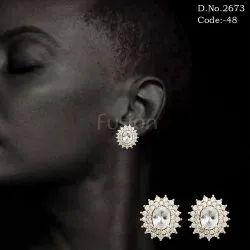 American Diamond Rose Gold Polish Stud Earrings