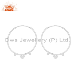 925 Sterling Fine Silver Handmade Bali Design Hoop Earrings