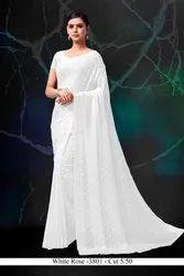 Party Wear Plain White Chiffon Jacquard Saree, 5.5 m (Separate Blouse Piece)