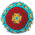 Round Designer Embroidered Cushion