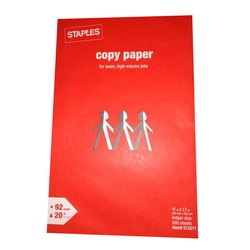 White Staples Copier Paper, Packaging Size: 500 Sheets per pack, 20 lbs (75 GSM)