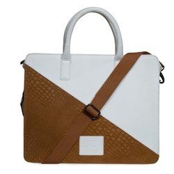 d5d94f2b74 White And Beige Genuine Leather Laptop Bag