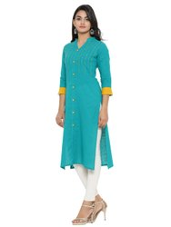 Yash Gallery Women's Cotton Blend Solid Sequin Work Straight Kurta