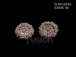 Traditional Antique Silver Polish Stud Earrings