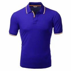 Blue Causal Plain Men's T Shirt