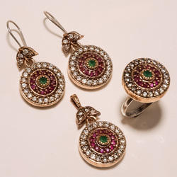 Turkish Colored Ring Pendant Set