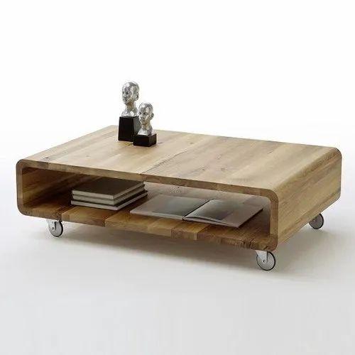Knotty Oak Rectangular Wooden Coffee Table
