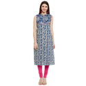 Cotton Blue Sleeveless Printed Kurti, Size: S, M & L