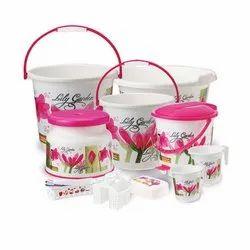 Pink, white Plastic Bathroom Accessories, Size: Medium