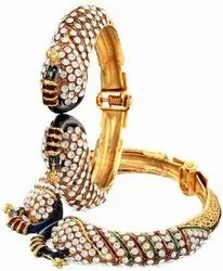 Peacock Beautiful Style Design Golden Plated Bangle