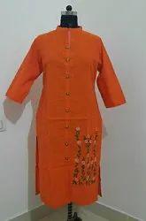 Embroidered Cotton Designer Kurti, Wash Care: Handwash