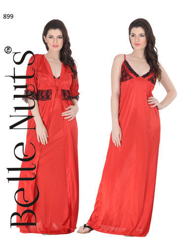 Belle Nuits 2 Pc Satin Long Nighty With Robe In Red Colour at Rs 899 ... 1a6abef94