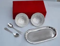 Silver Plated Wedding Gift Bowl Set With Tray