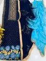 Unstitched Pure Silk Block Print Embroidered Suits