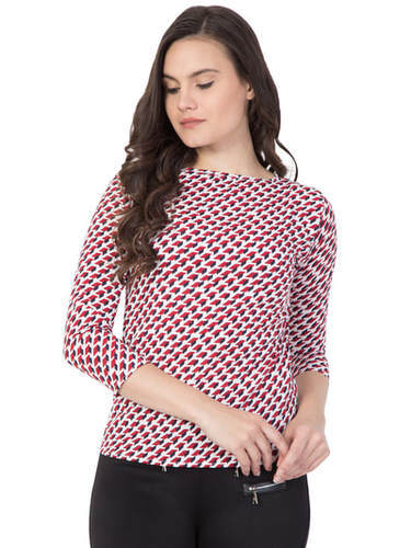 54188a742b Rayon Red Half Sleeves Designer Tops