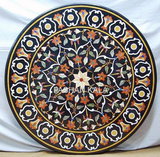 Polish marble Stone Mosaic Table Tops, For Home, Shape: Round