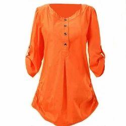 Orange Round Neck Ladies Plain Long Top