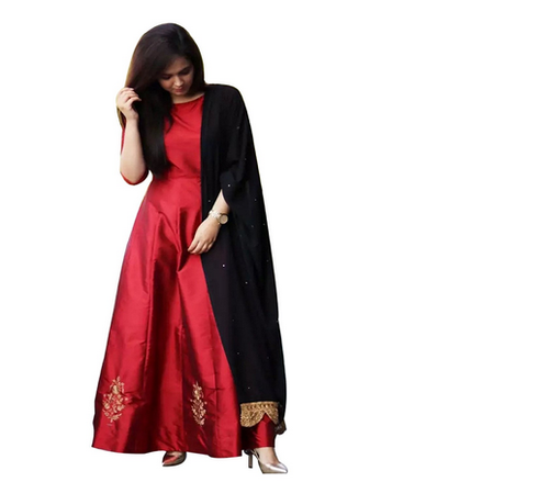 219f76ea41 Taffeta Silk Casual Wear Red Colour Suit For Womens Ethnic Wear, Rs ...