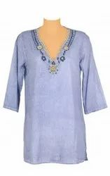 Solid Dyed Tunic with V- Neck Embroidery