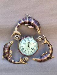 Metal Round Brownish Fish Wall Clock