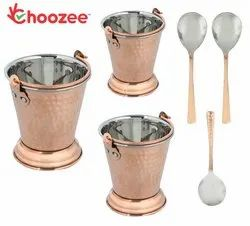 Choozee -Steel Copper Serving Bucket Set of 3 Pcs with Serving Spoons(400ML, 600ML and 800Ml)