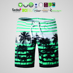 Natural Recycle Organic Cotton Mens Printed Shorts Manufacturer