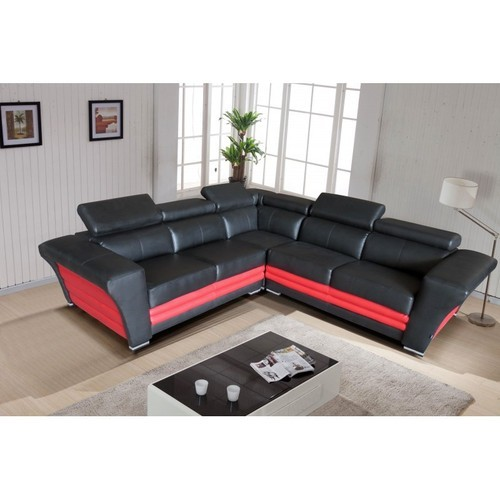 Leather Black And Red Designer L Shaped Sofa Set