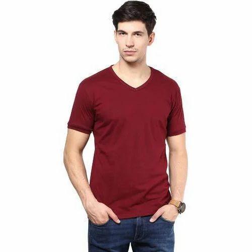 ddcee668 Maroon Plain Men''s Half Sleeve T Shirt, Size: Medium, Rs 150 /piece ...