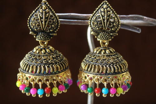 17c936a47740d Black Oxidized Multi Colour Golden Jhumka - Niyati Silver Ornament ...