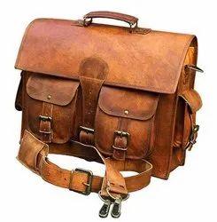 Vintage Look Genuine Leather 4 Pocket Laptop Bag