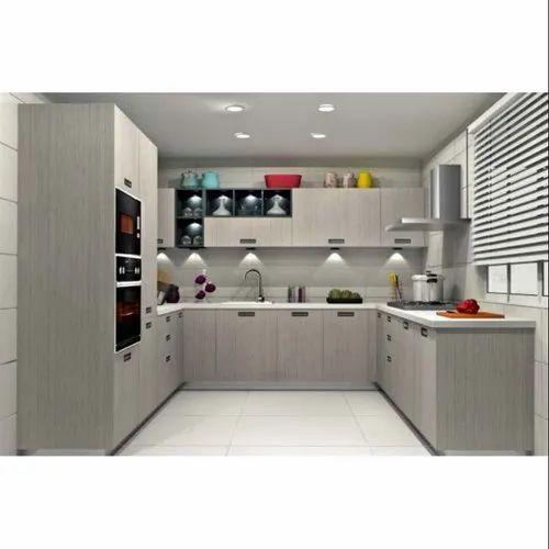 Sleek World U Shape Wooden U Shaped Modular Kitchen, Kitchen Cabinets