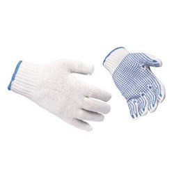 Full Fingered Safety Cotton Dotted Hand Gloves