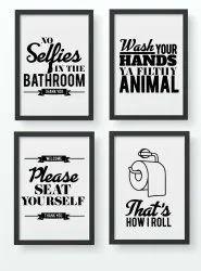 Wooden Bathroom Decor Printed Frames, For Decoration
