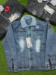 own Brand Collar Neck Mens Denim Fur Jacket