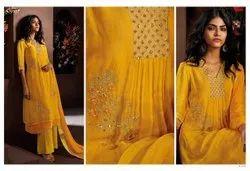 Cotton A-Line Ganga Ladies Suits, Dry clean