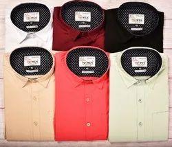 Multicolor Trendy Fit Plain Shirts, Size: 38 40 42 44