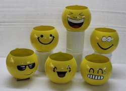 Lemon Yellow Round Metal planters, For Decoration, Size: 5 Inch