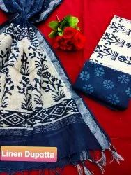 Indigo Blue Linen Dupatta Cotton Salwar Suit Set