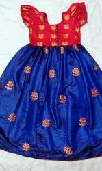 Peach Girl Kids ethnic ready made frock with embroidery