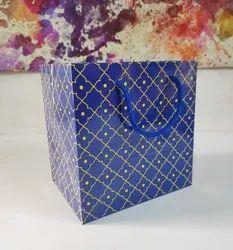 Blue Printed Square Gift Paper Bag, 200 Gsm, Capacity: 1 Kg