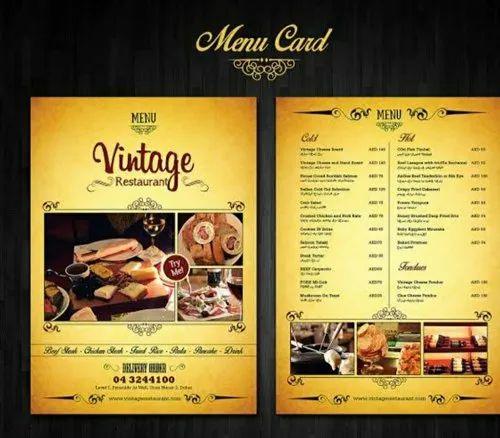 Hotel Menu Card, Size: 12x8 Inch