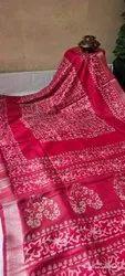 Batik Printed Designs On Linen Sarees