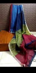 Silk Linen Multi Color Silk Sarees