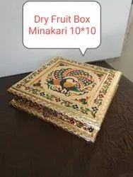 GOLDEN MINAKARI DRY FRUIT BOX